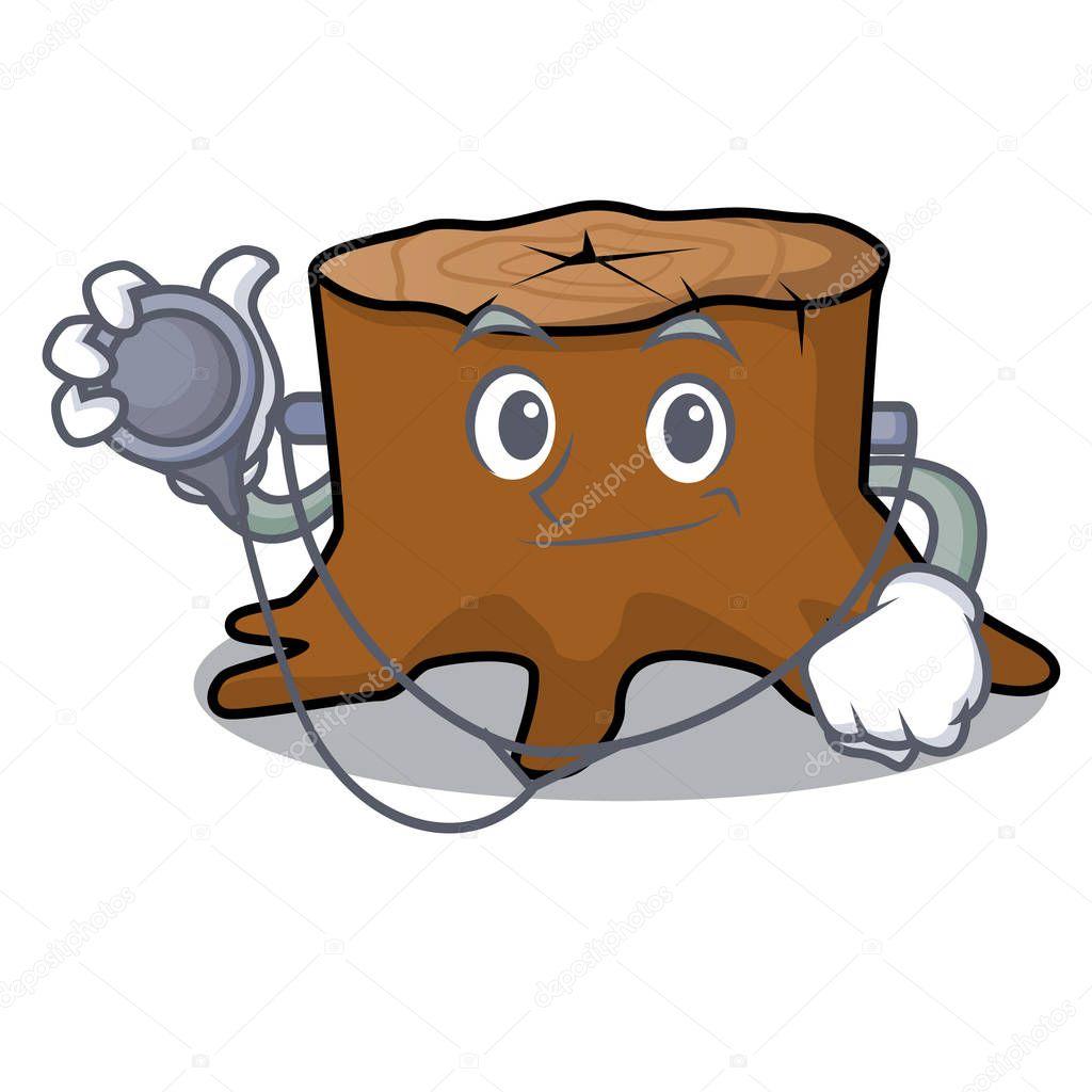 Doctor tree stump character cartoon