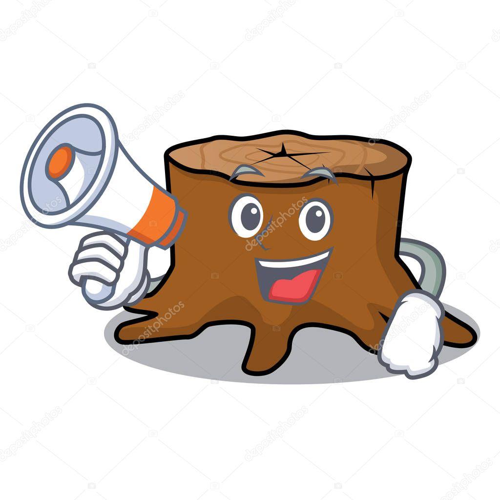 With megaphone tree stump character cartoon
