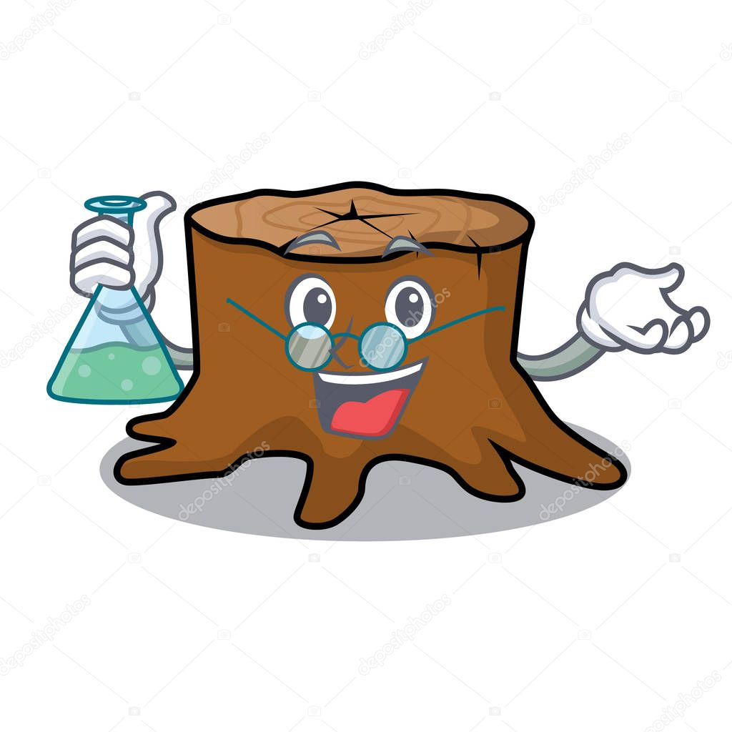 Professor tree stump character cartoon