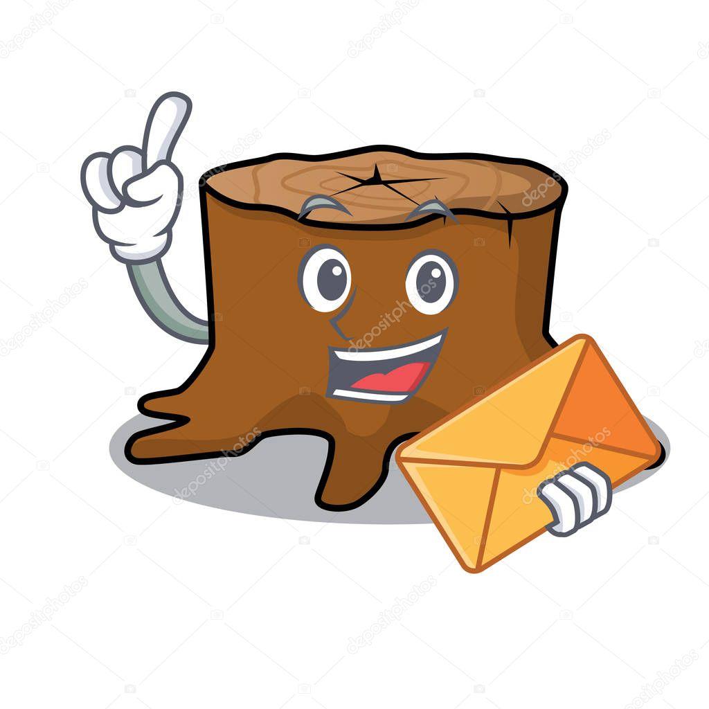With envelope tree stump character cartoon