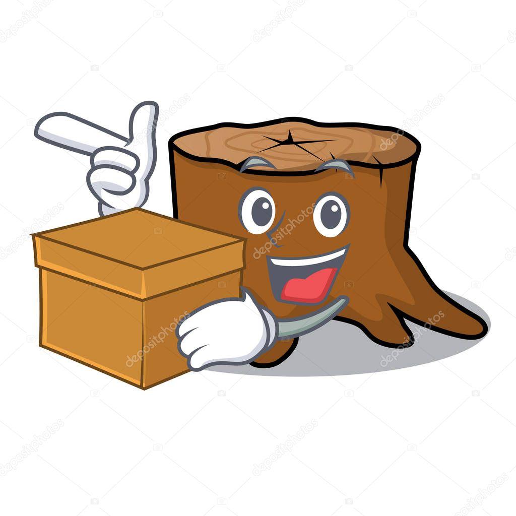 With box tree stump character cartoon
