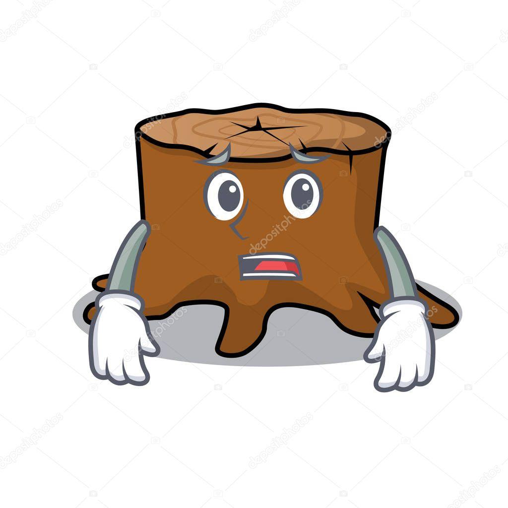 Afraid tree stump mascot cartoon