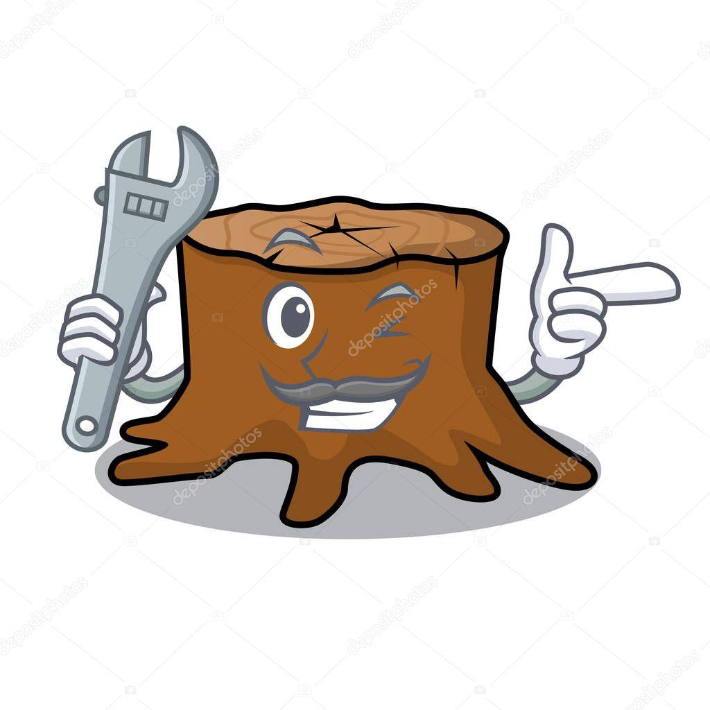Mechanic tree stump mascot cartoon