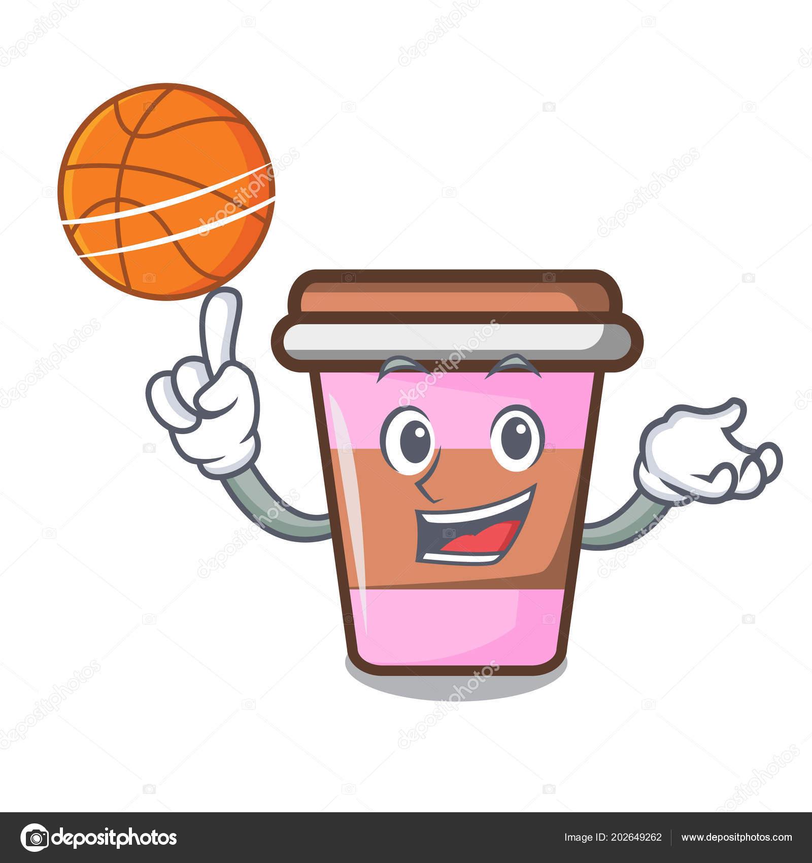 Basketbal Kavy Salek Charakter Kreslene Vektorove Ilustrace Stock