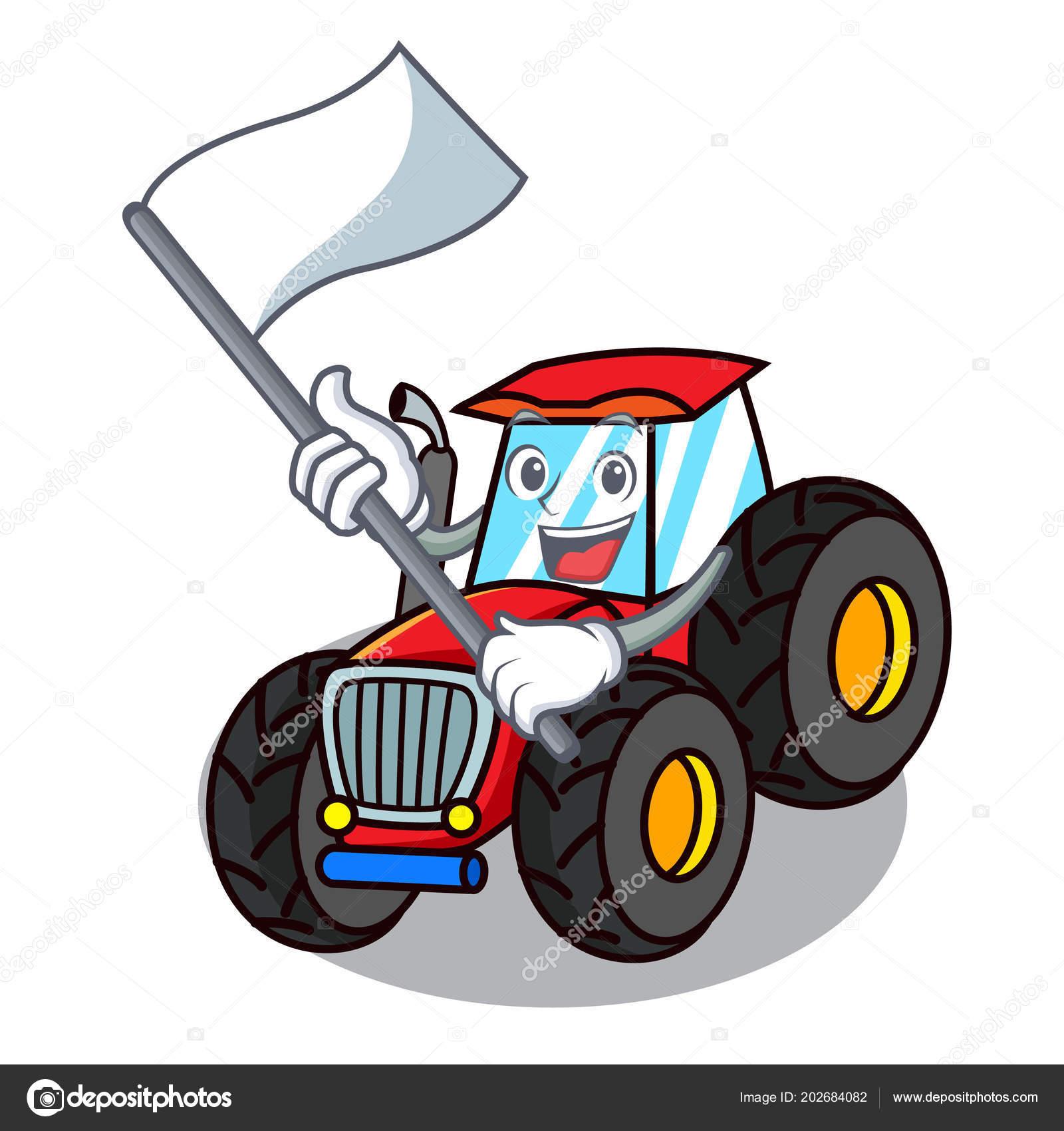 Mit Fahne Traktor Maskottchen Cartoon Stil Stockvektor
