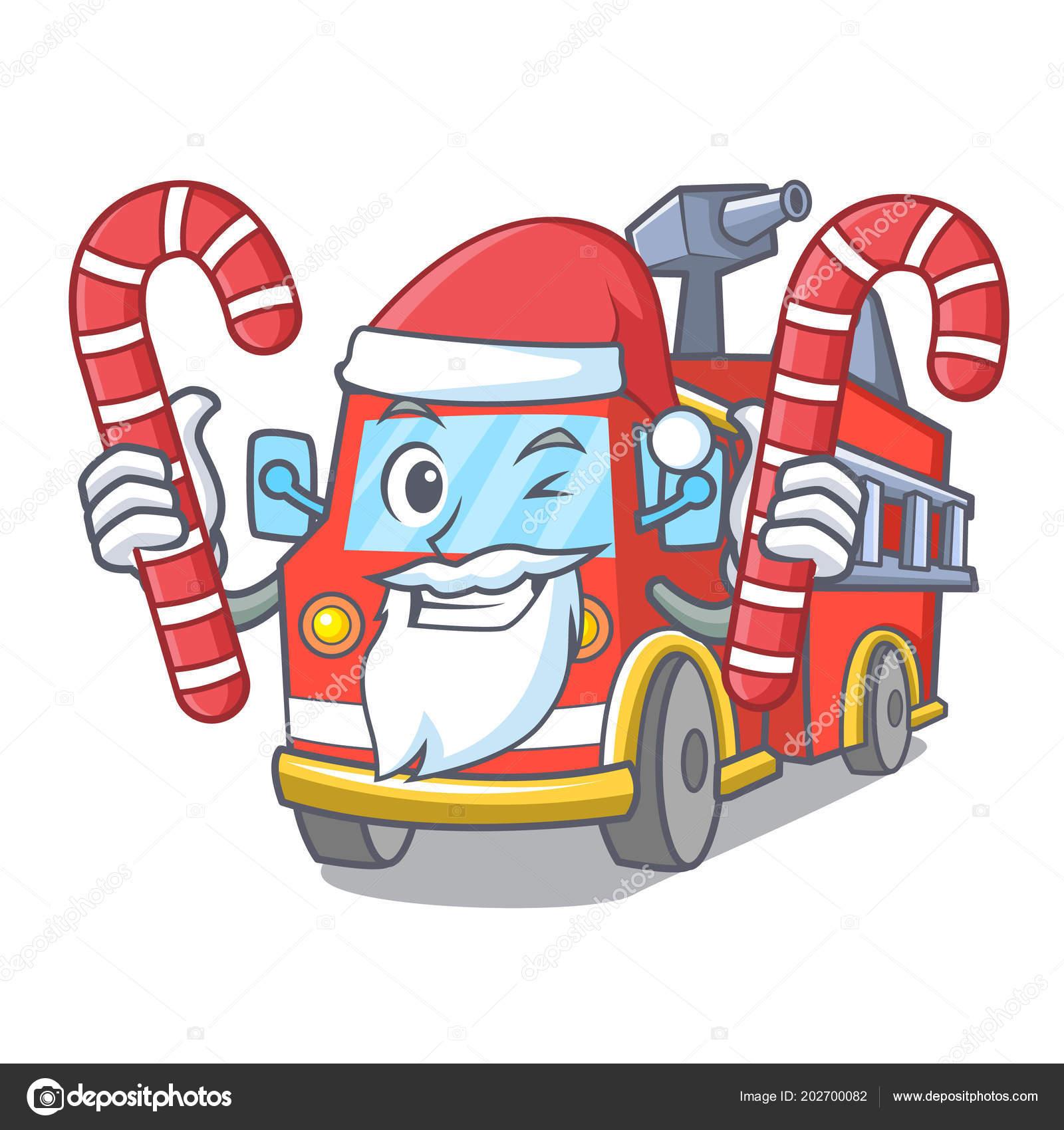 Santa Dengan Kartun Truk Pemadam Kebakaran Permen Stok Vektor C Kongvector 202700082