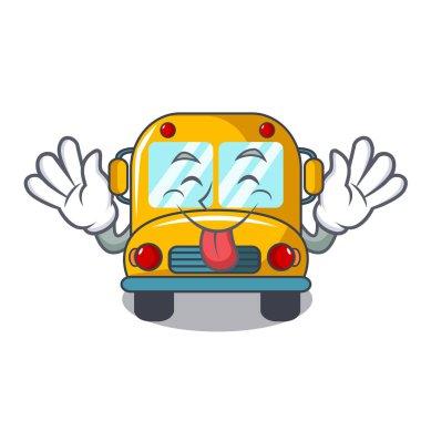 Tongue out school bus mascot cartoon vector illustration