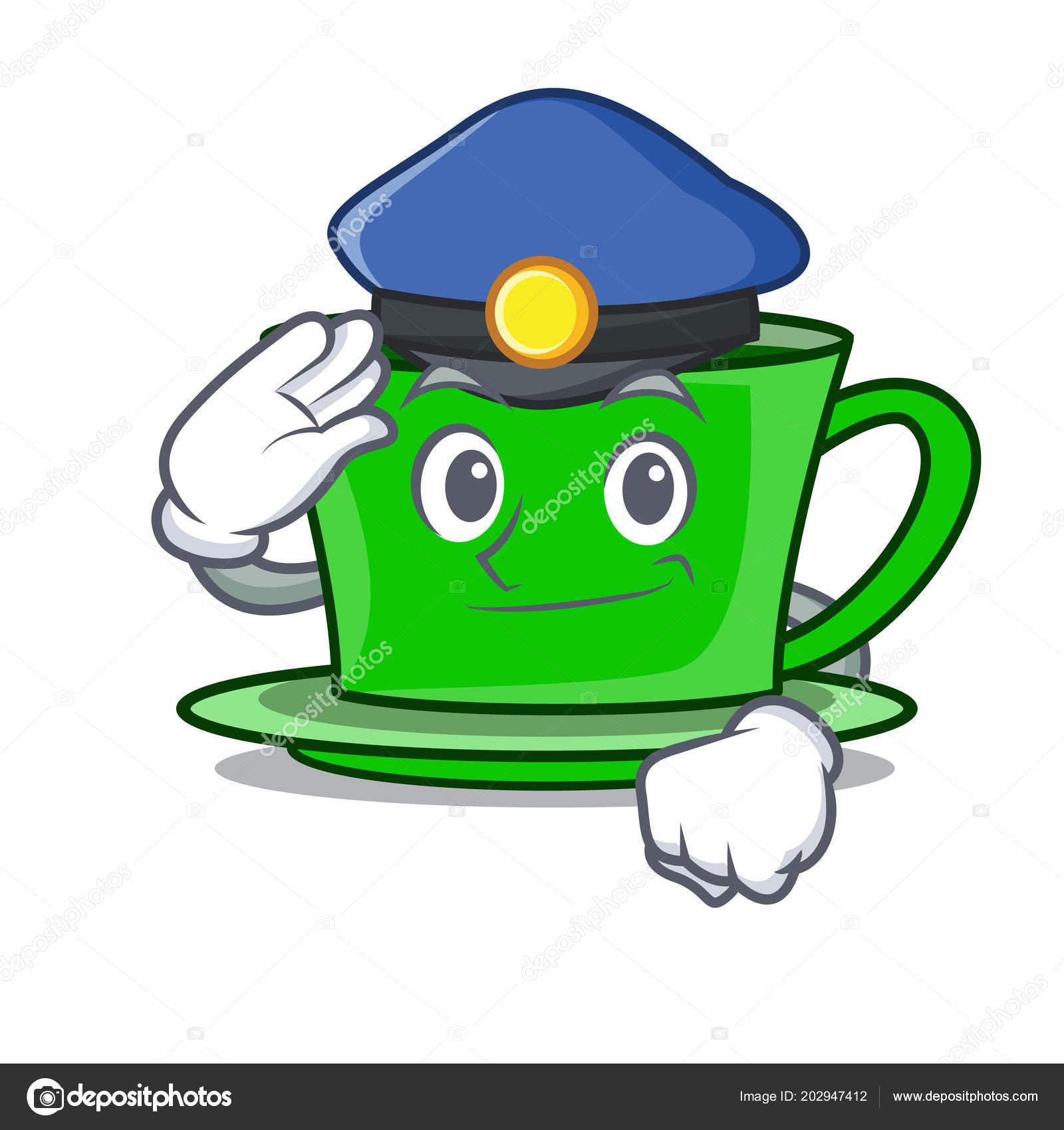 Policie Zeleny Caj Charakter Kreslene Vektorove Ilustrace Stock