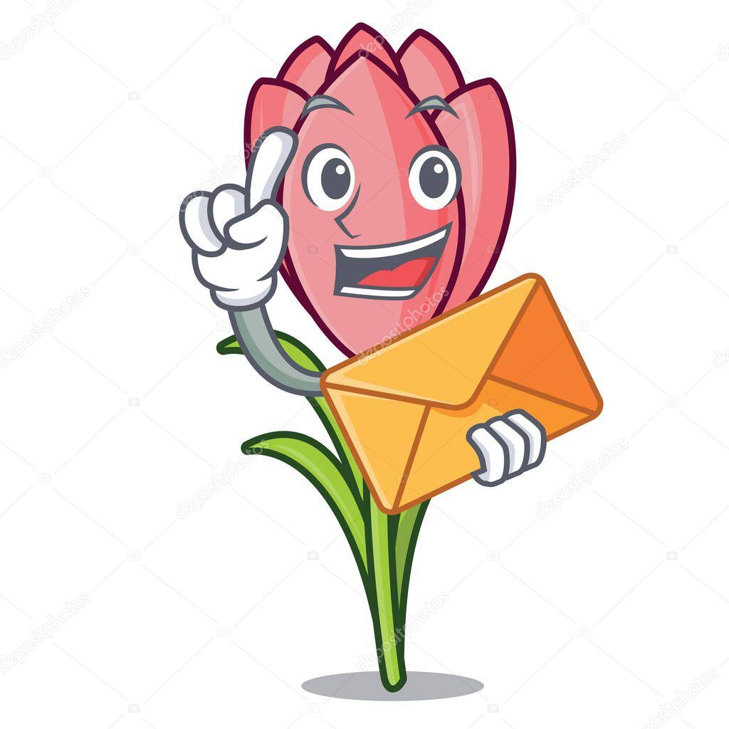 With envelope crocus flower character cartoon