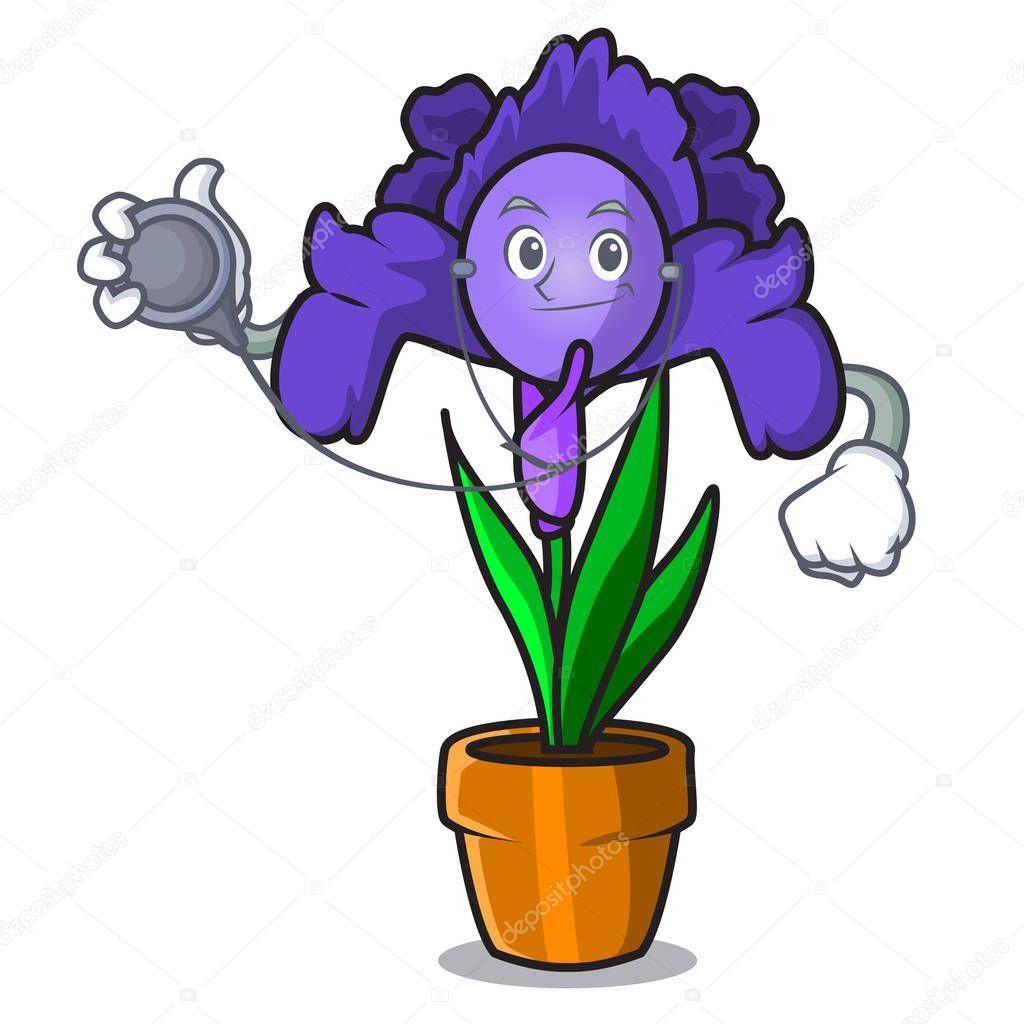 Doctor iris flower character cartoon