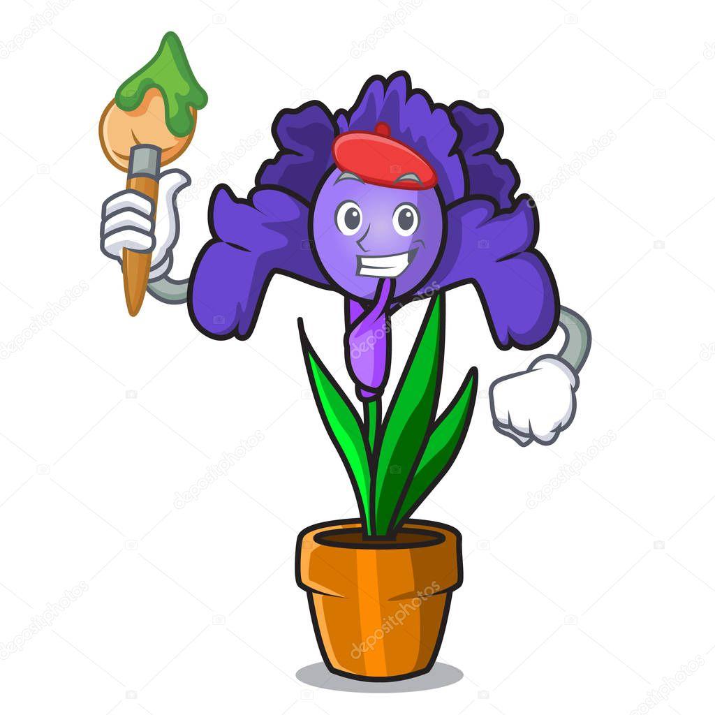 Artist iris flower character cartoon