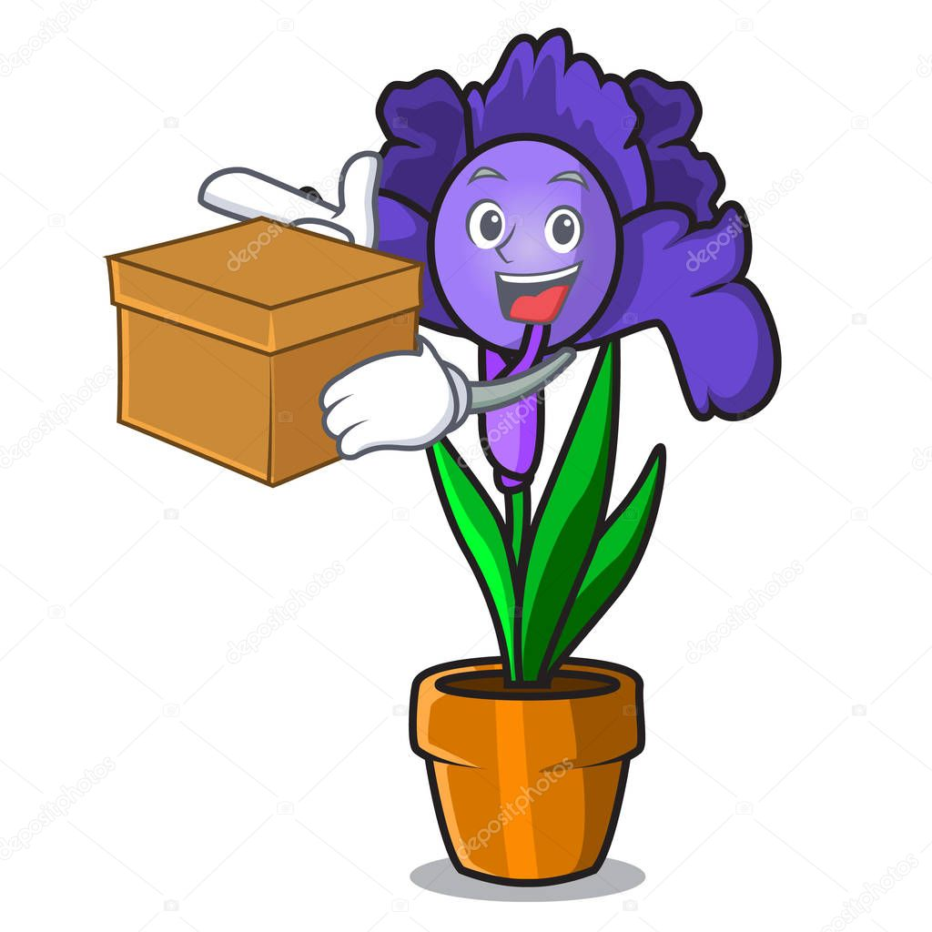 With box iris flower character cartoon