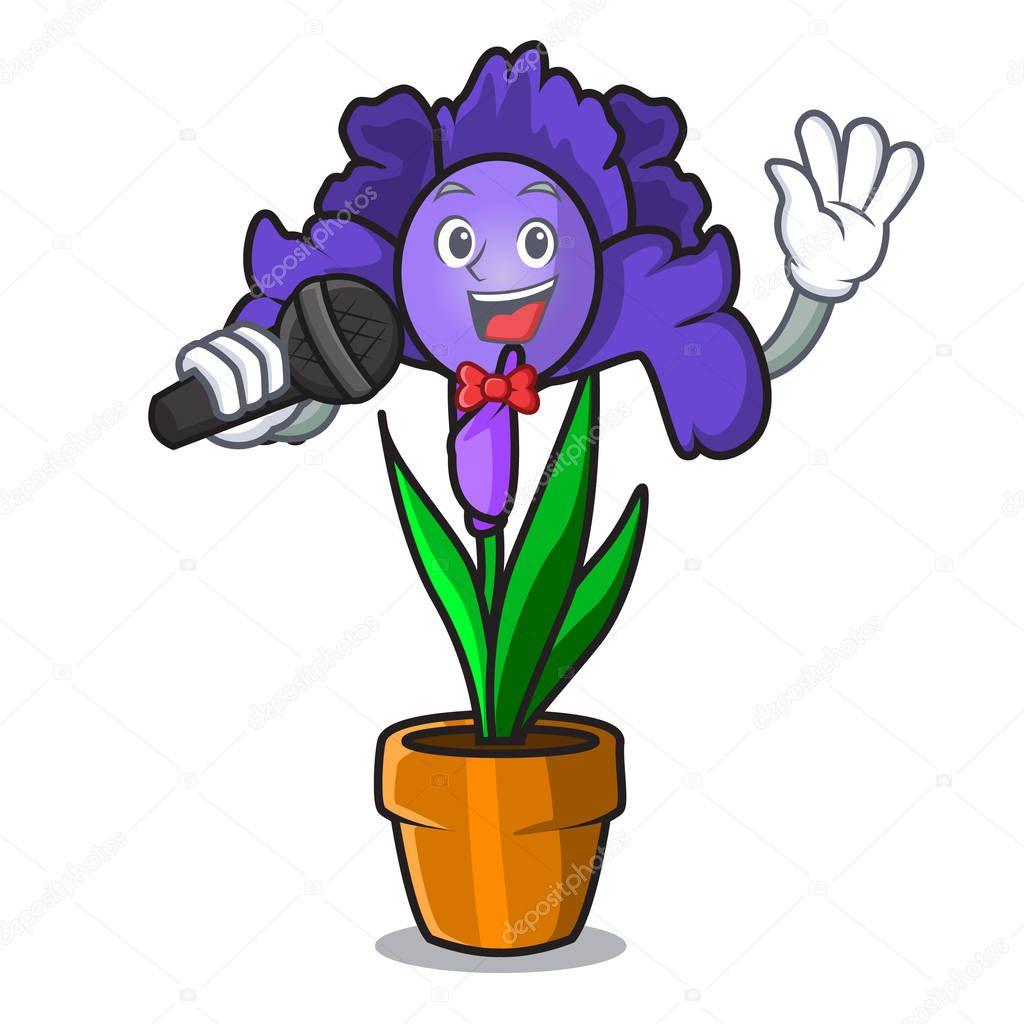 Singing iris flower mascot cartoon