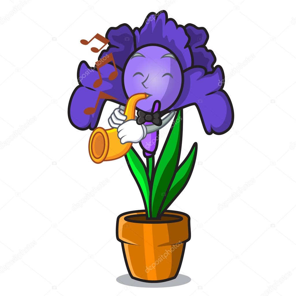With trumpet iris flower mascot cartoon