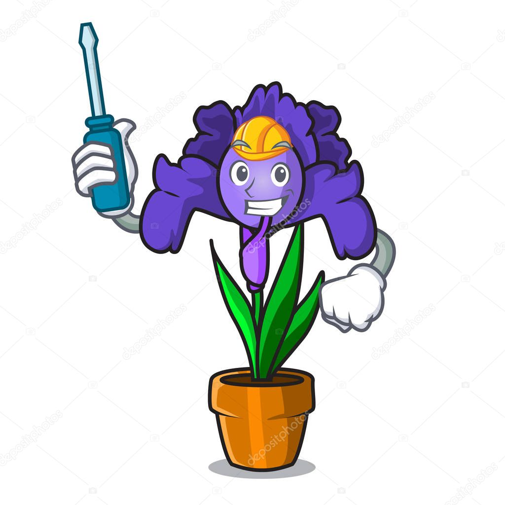 Automotive iris flower mascot cartoon