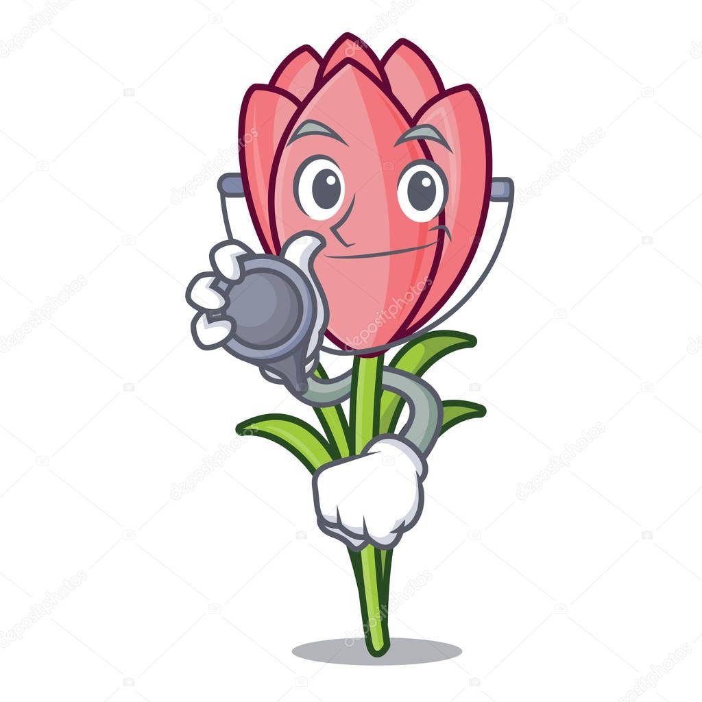 Doctor crocus flower character cartoon