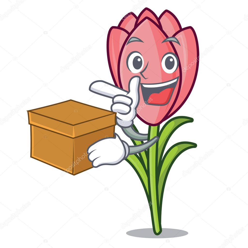 With box crocus flower character cartoon