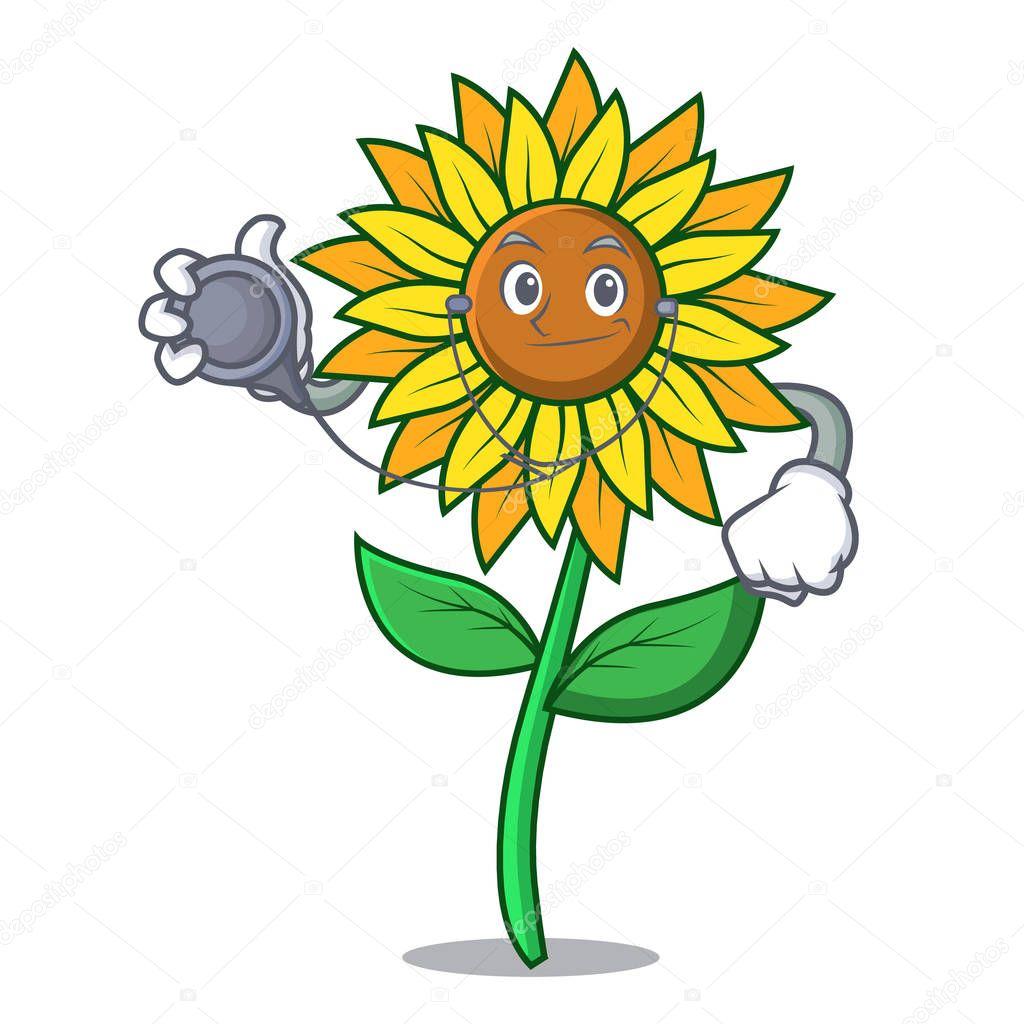 Doctor sunflower character cartoon style