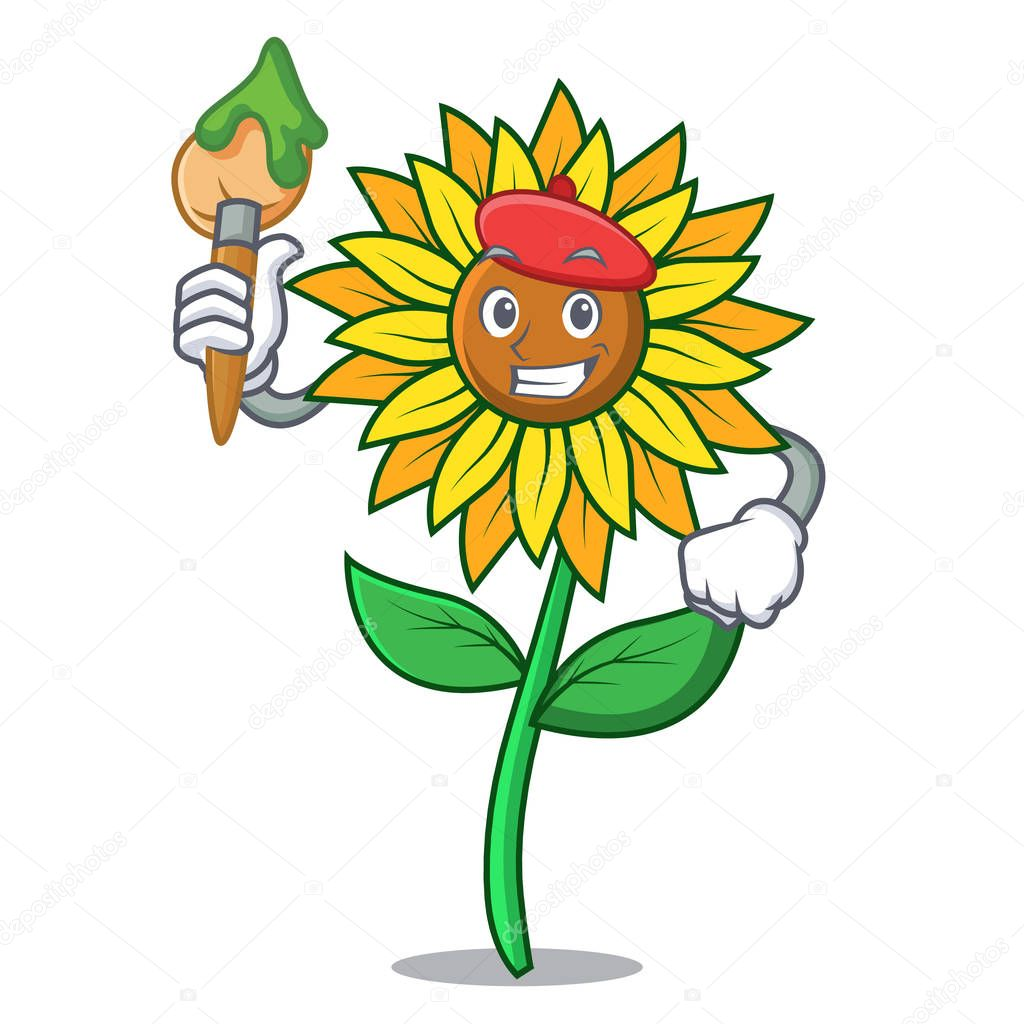 Artist sunflower character cartoon style