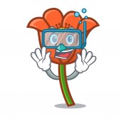 Potápění makový květ znakové karikatury