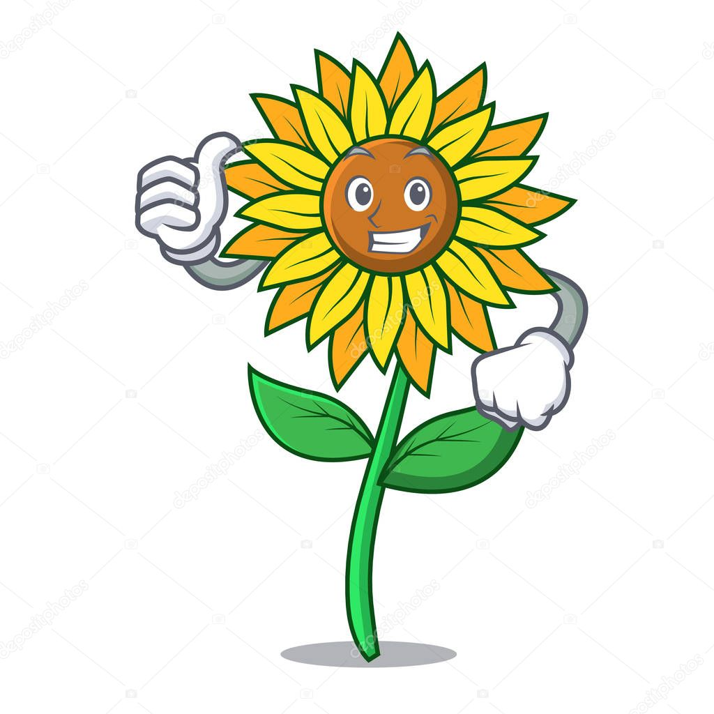 Thumbs up sunflower character cartoon style