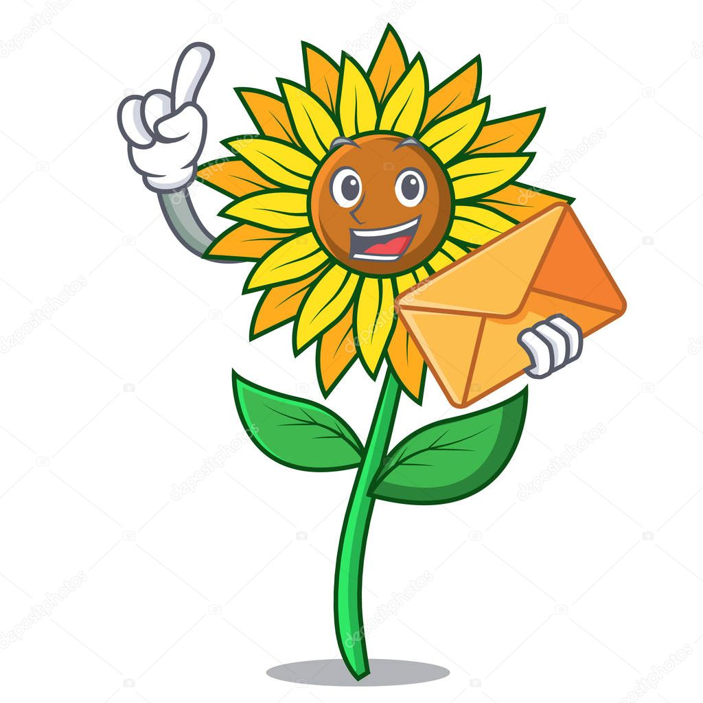 With envelope sunflower character cartoon style