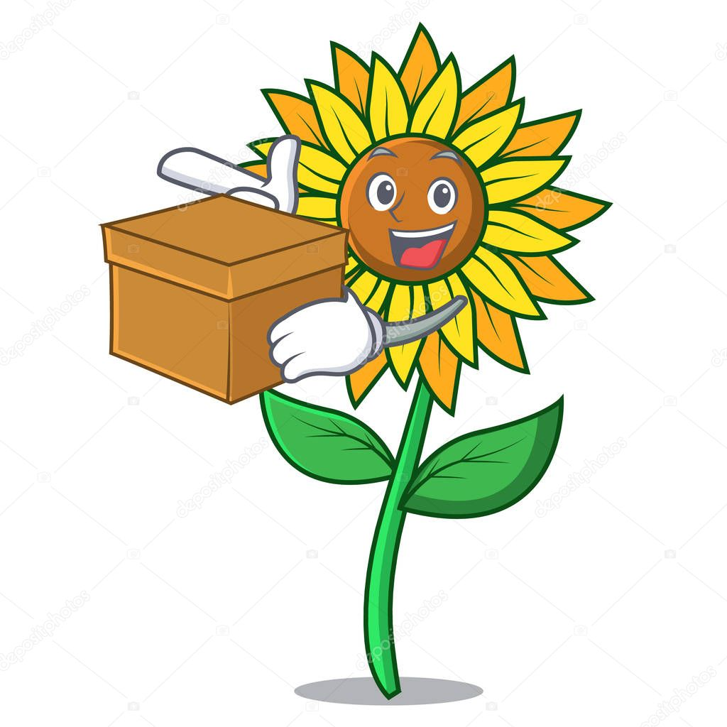 With box sunflower character cartoon style