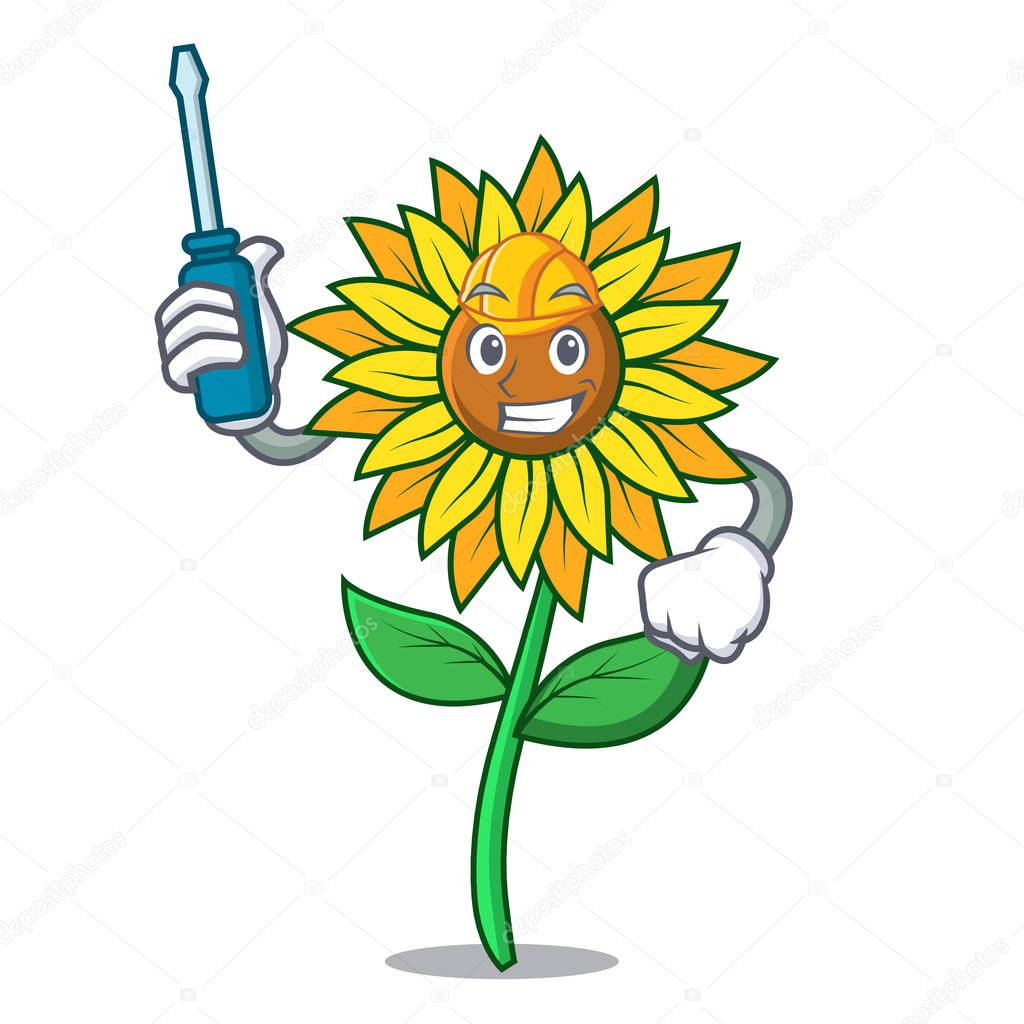 Automotive sunflower mascot cartoon style