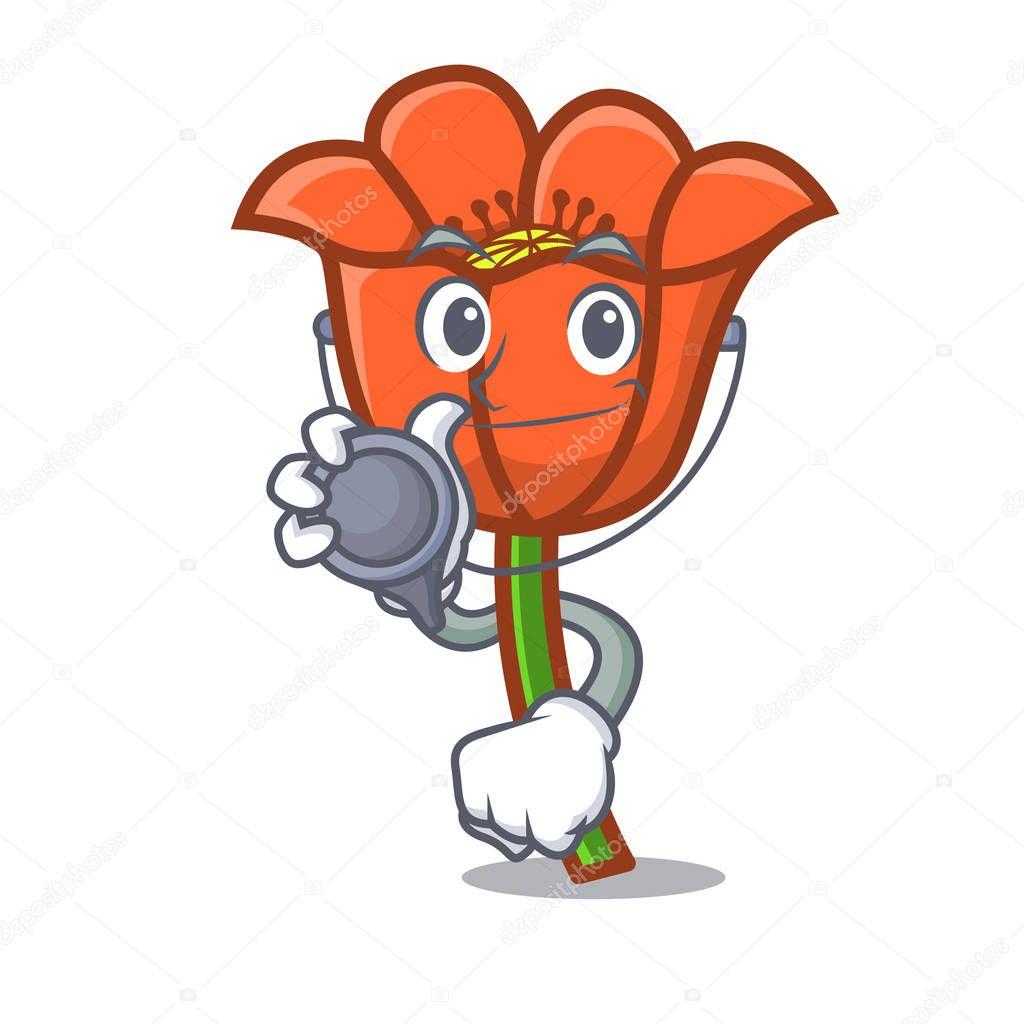 Doctor poppy flower character cartoon
