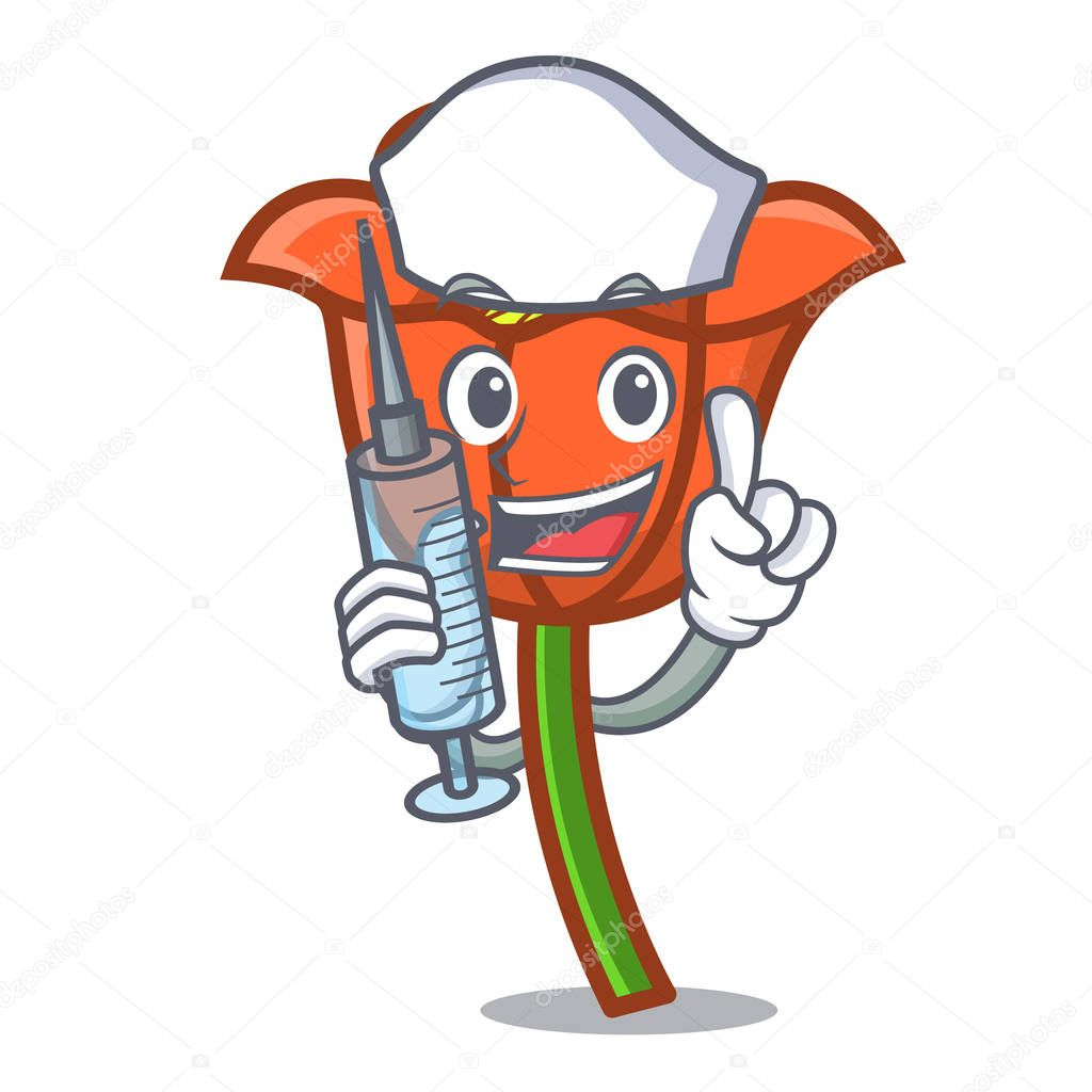Nurse poppy flower character cartoon