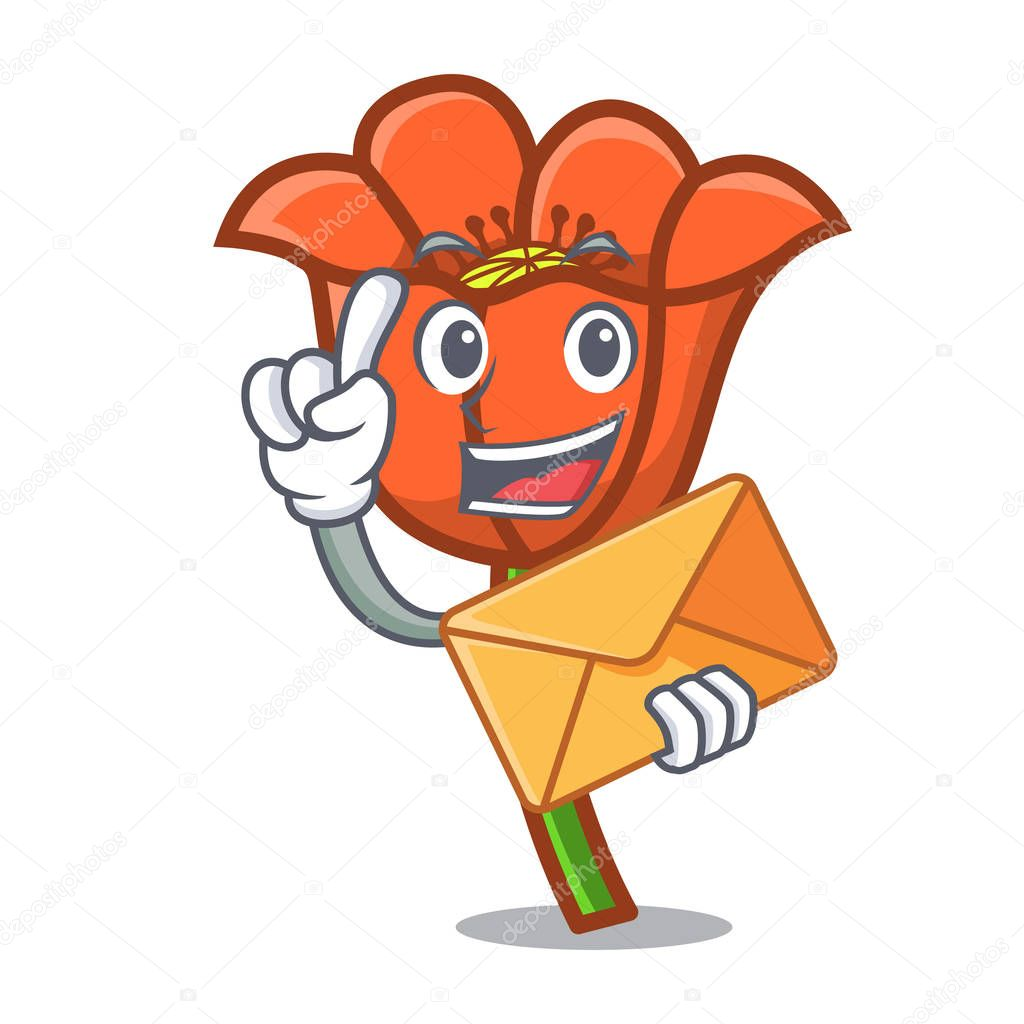 With envelope poppy flower character cartoon