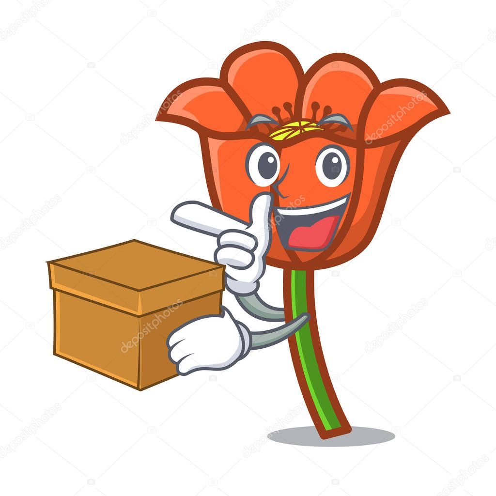 With box poppy flower character cartoon