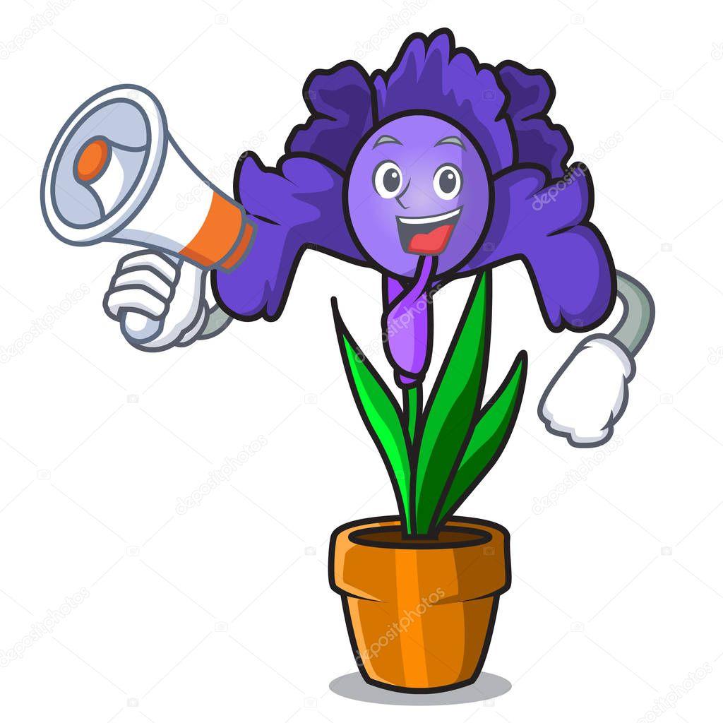 With megaphone iris flower character cartoon
