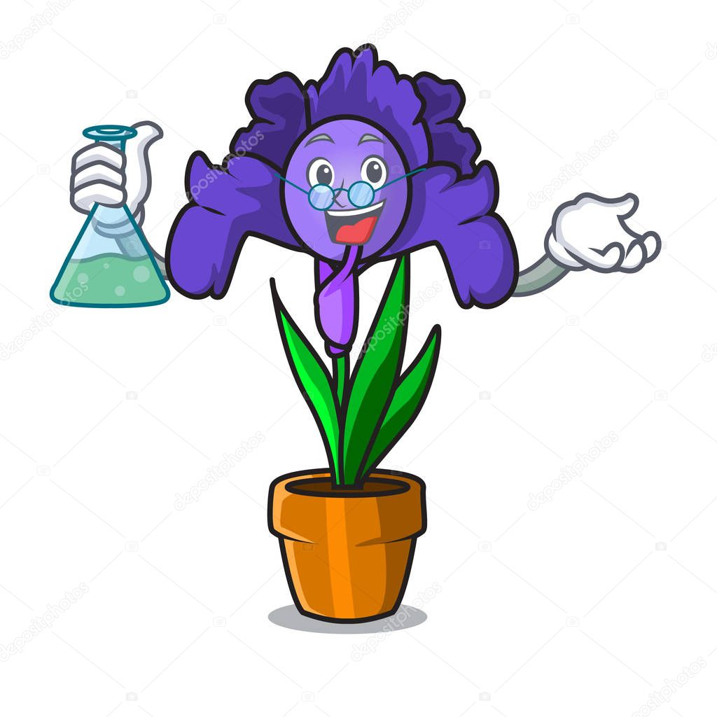 Professor iris flower character cartoon