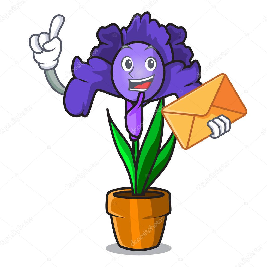 With envelope iris flower character cartoon