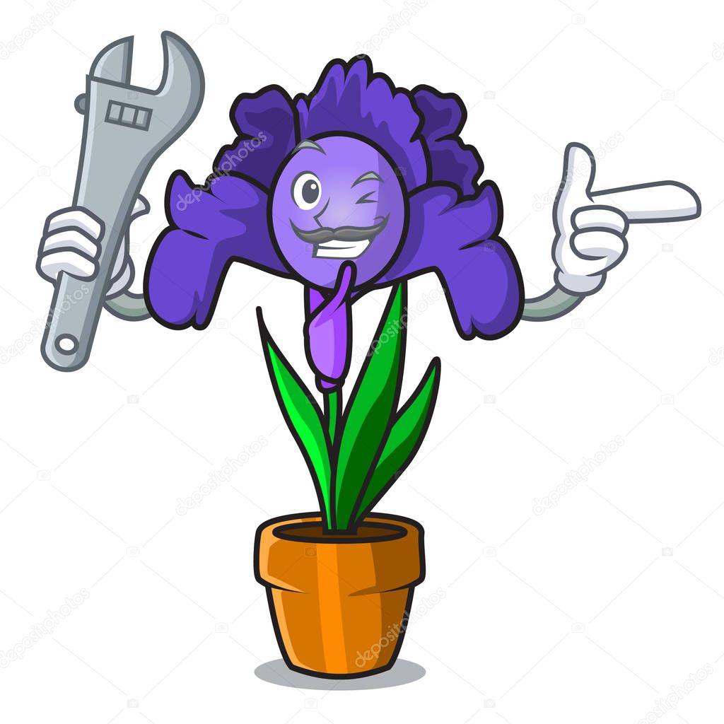 Mechanic iris flower mascot cartoon