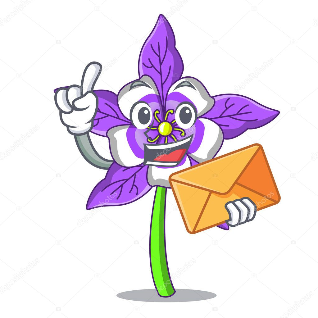 With envelope columbine flower character cartoon