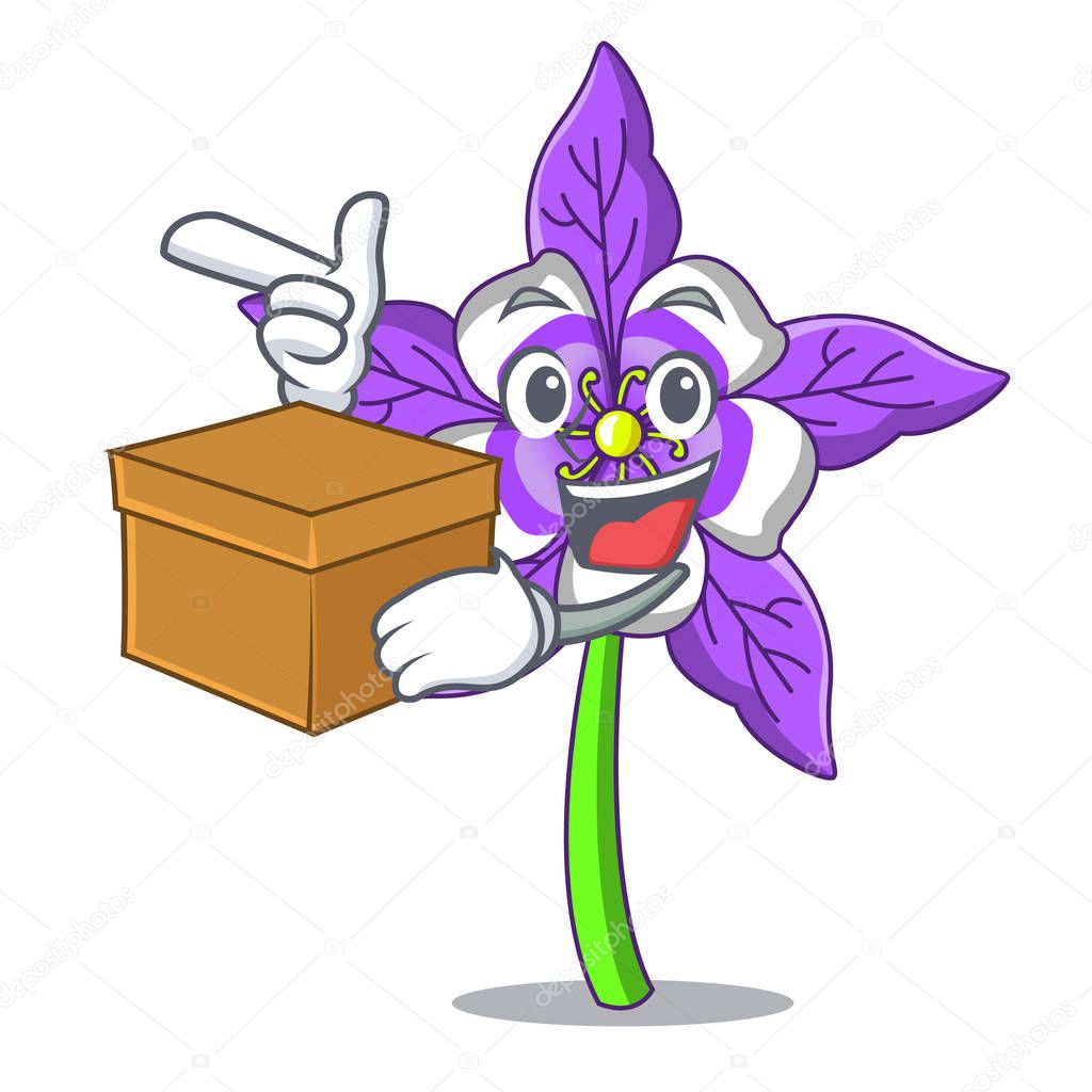 With box columbine flower character cartoon