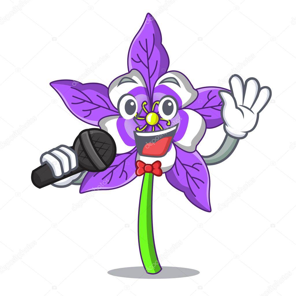 Singing columbine flower mascot cartoon