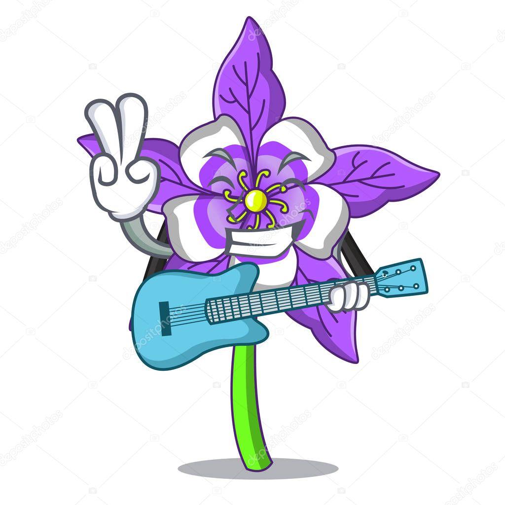 With guitar columbine flower mascot cartoon vector illustration