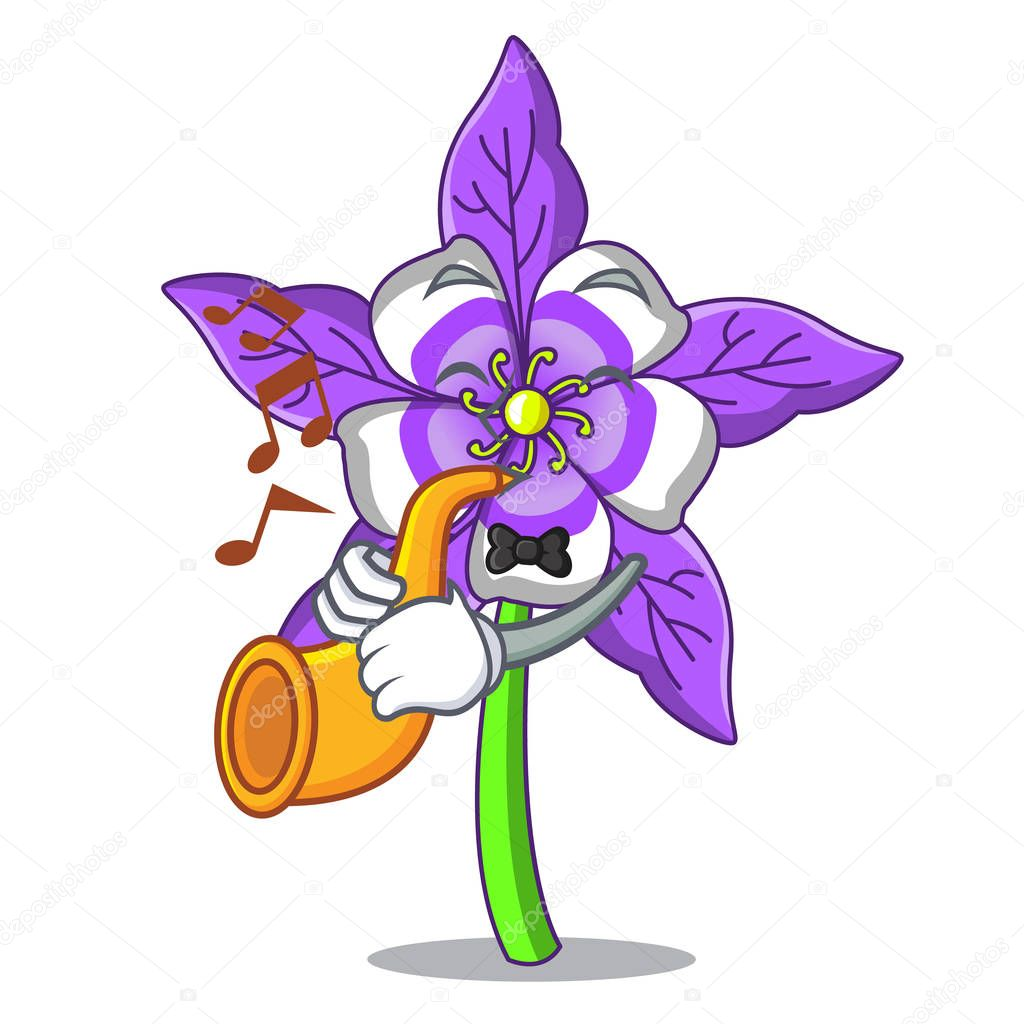 With trumpet columbine flower mascot cartoon