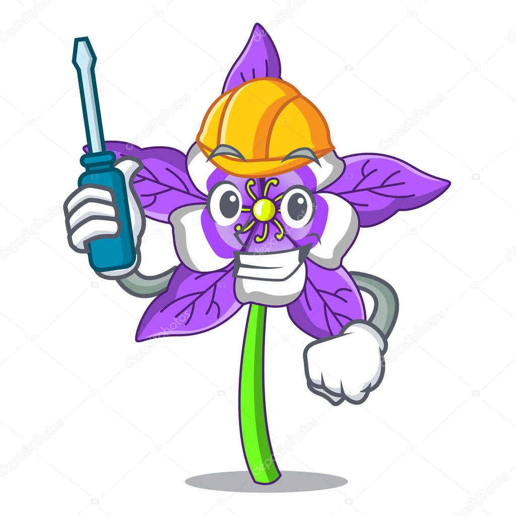 Automotive columbine flower mascot cartoon