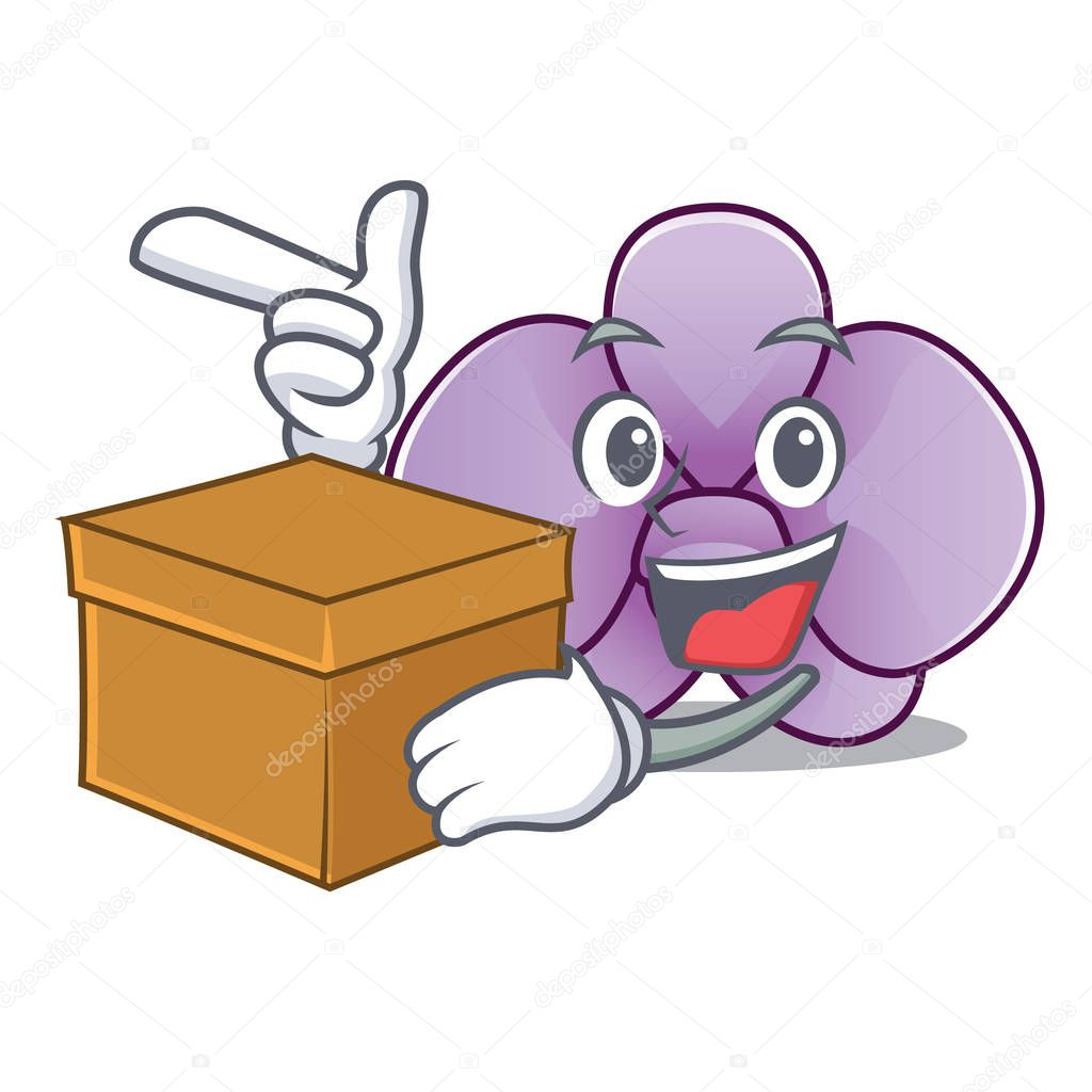 With box orchid flower character cartoon