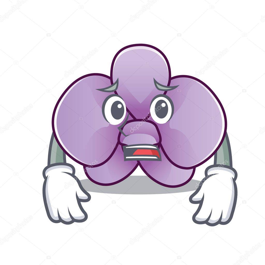 Afraid orchid flower mascot cartoon
