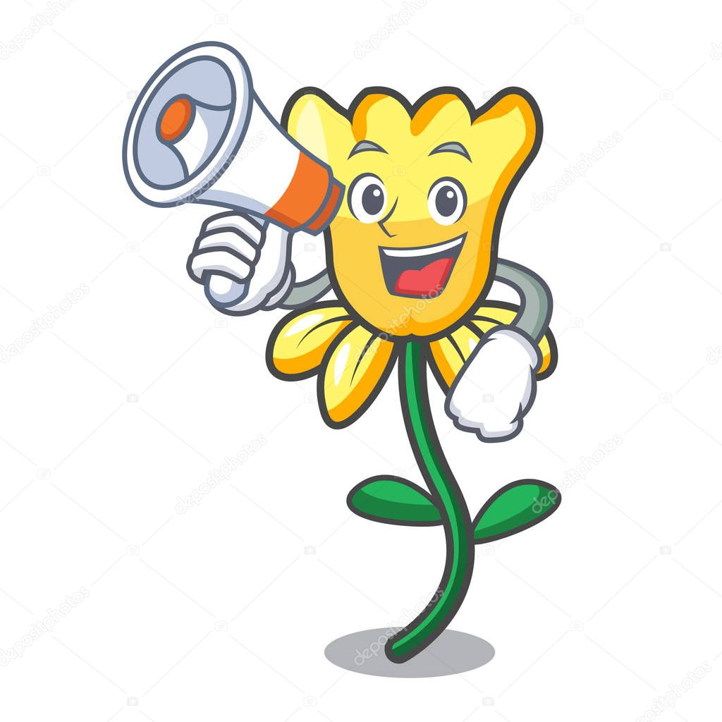 With megaphone daffodil flower character cartoon vector illustration
