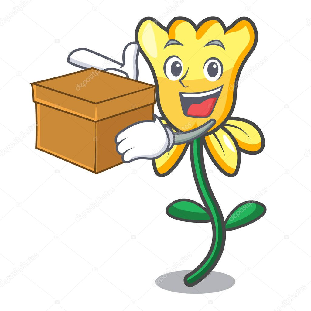 With box daffodil flower character cartoon
