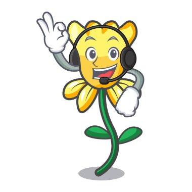 With headphone daffodil flower mascot cartoon vector illustration