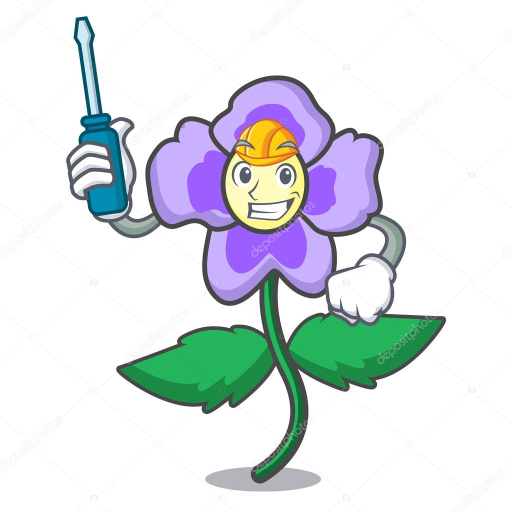 Automotive pansy flower mascot cartoon