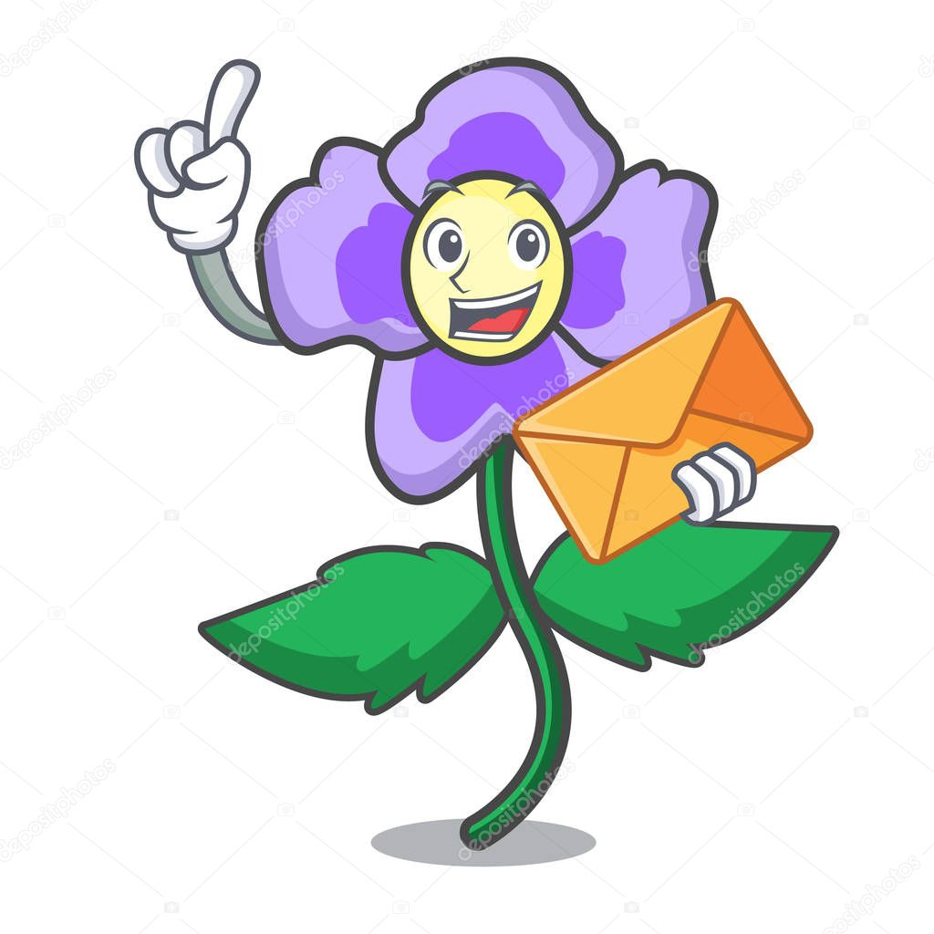 With envelope pansy flower character cartoon