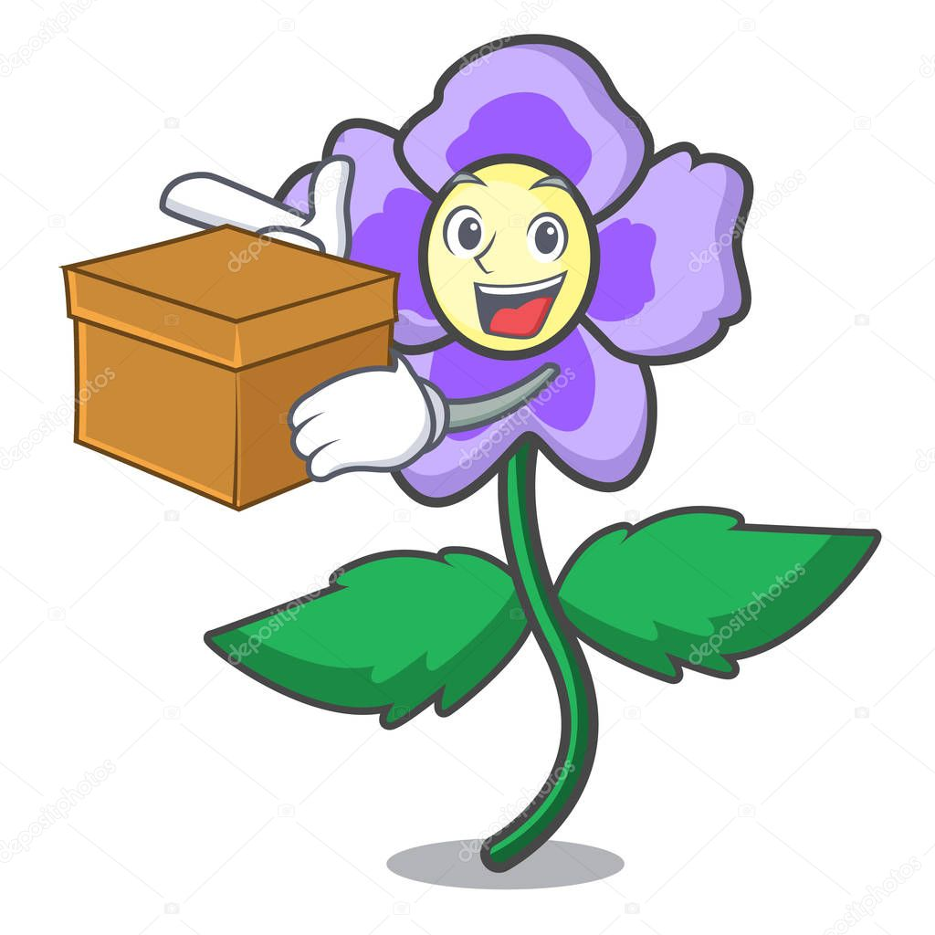 With box pansy flower character cartoon